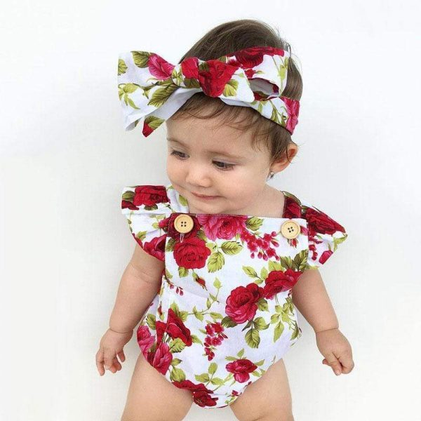 Newbabywish Floral Baby Girls Onesies+Headband