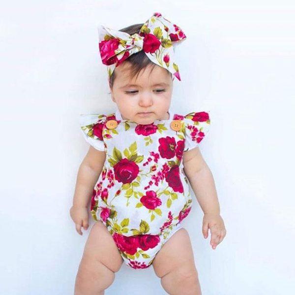 Newbabywish Baby Girls Flower Bodysuit + Headband