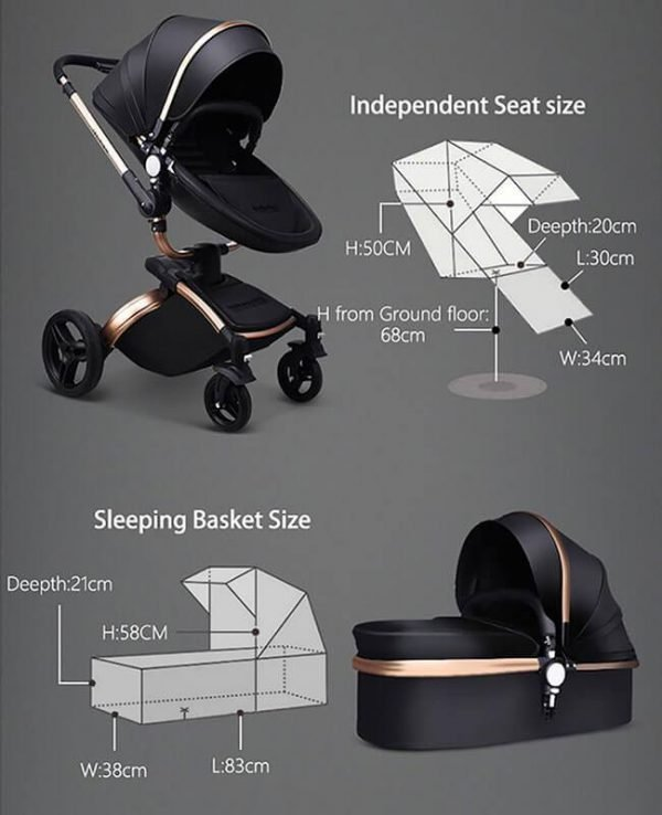 Leather 3 In 1 Toddler Prams With Car Seat-26