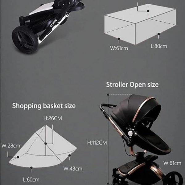 Infant Pram Stroller Luxury Leather 2 in 1 Stroller