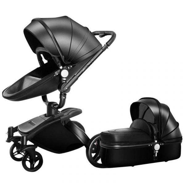 Leather 360 Degree Rotation Toddler Stroller Bassinet Stroller Convertible Stroller