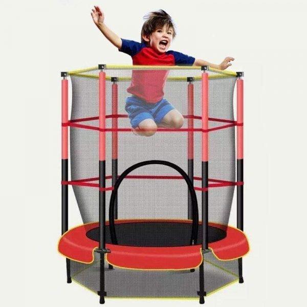 """55"""" Kids Mini Indoor Outdoor Trampoline With Enclosure"""
