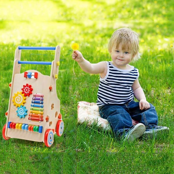 Adjustable Wooden Baby Walker Multiple Baby Push Walker with Activity Toys