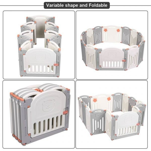 Baby Playpen with Lock Gate Foldable Baby Play Fence Area(14 Panel)