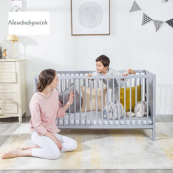 White 4 in 1 Convertible Crib Wooden Baby Cot Bed