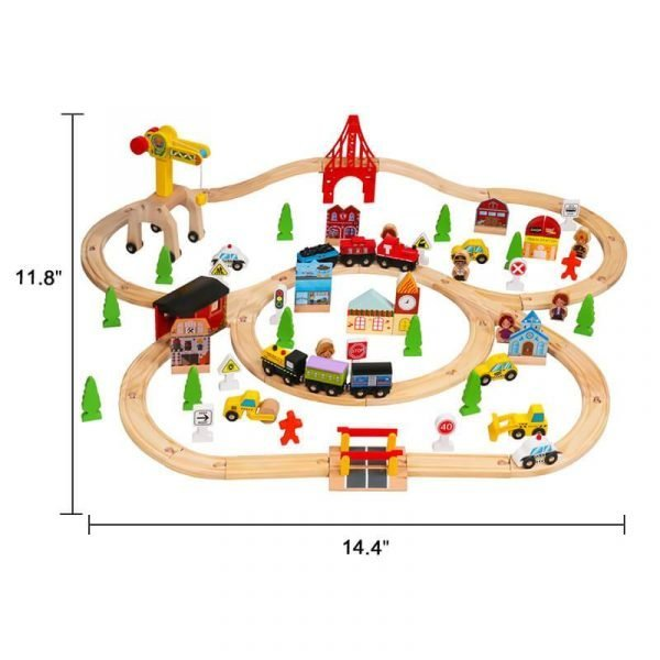100 Pcs Wooden Train Tracks Sets Multicolor Wooden Toy Train