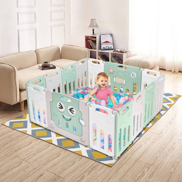12+2 Panel Baby Play Area Fence Indoor Playground