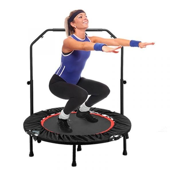 Fitness Trampoline with Handlebar Exercise Bounce for Adults