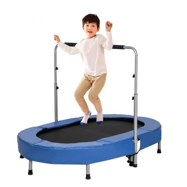 Jumping Oval Trampoline with Handlebar Fitness Trampoline