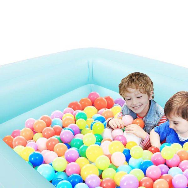 Kids Inflatable Plastic Swimming Pool Rectangular Kiddie Pool