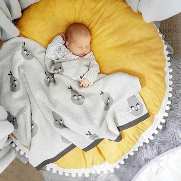 Baby Cotton Round Nursery Rug Soft Crawling Mat