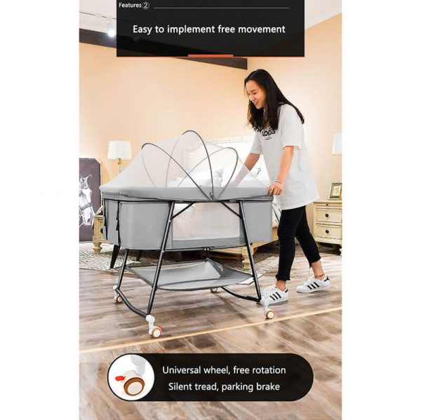 Foldable Mini Crib with Wheels for Baby Bedside Crib Bassinet